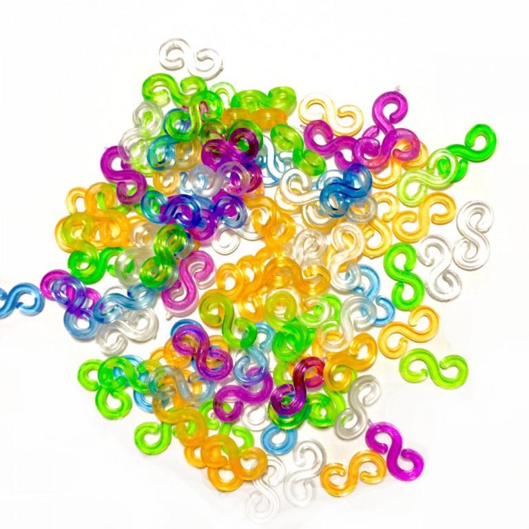 S-образные клипсы для плетения браслетов из резинок