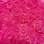 Рифленые двухцветные резинки для плетения браслетов (600 шт, цвет розовый с белым)