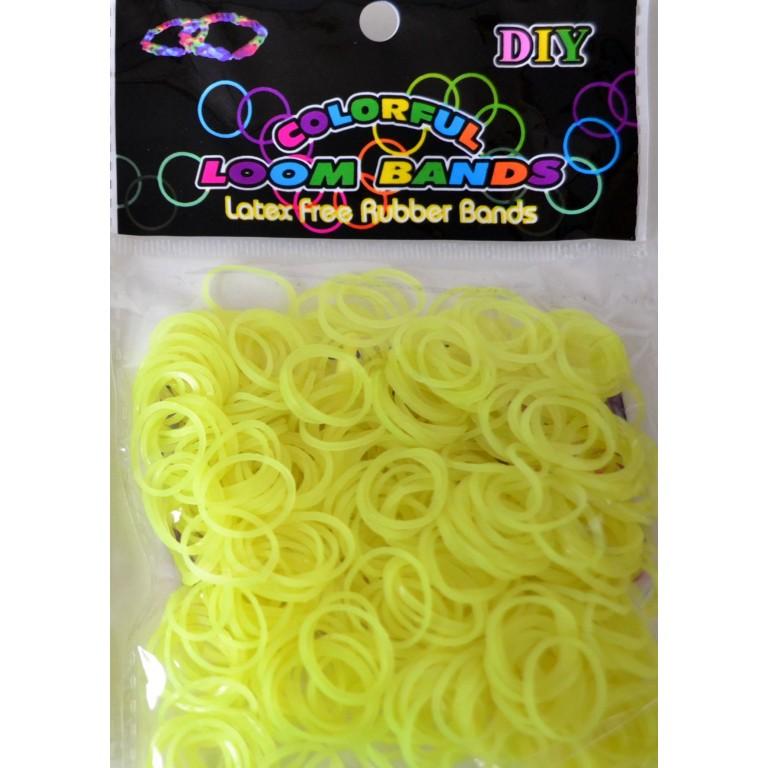 Светящиеся резинки для плетения браслетов (300 штук, желтый цвет)