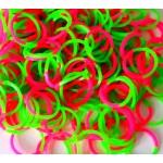 Двухцветные резинки для плетения браслетов (150 шт, цвет зелено-розовый)
