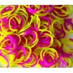 Двухцветные резинки для плетения браслетов (150 шт, цвет желто-фиолетовый)