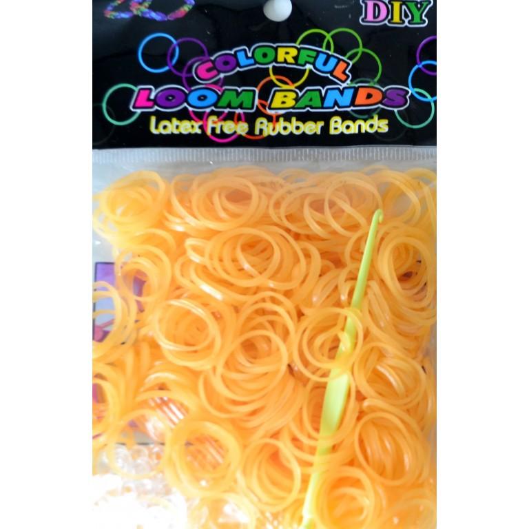 Светящиеся оранжевые резинки для плетения браслетов (300 штук)