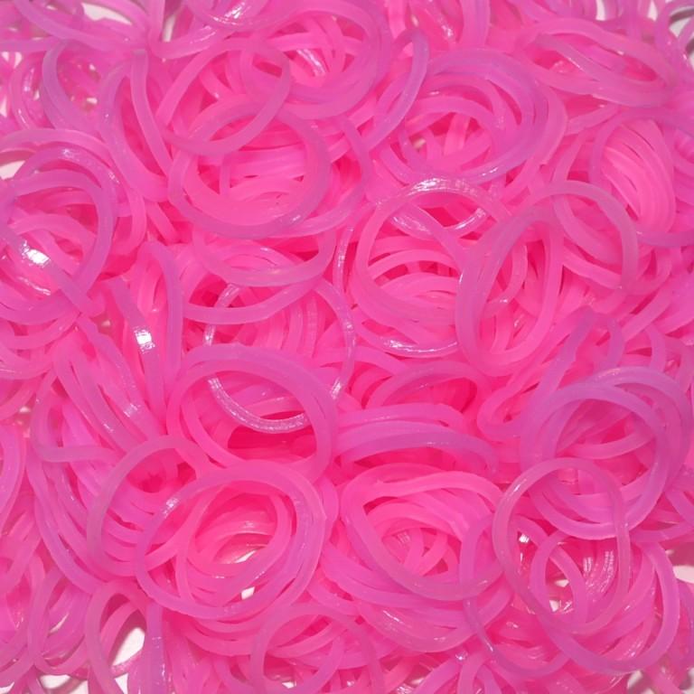 Светящиеся  резинки для плетения браслетов (цвет розовый, 300 штук)