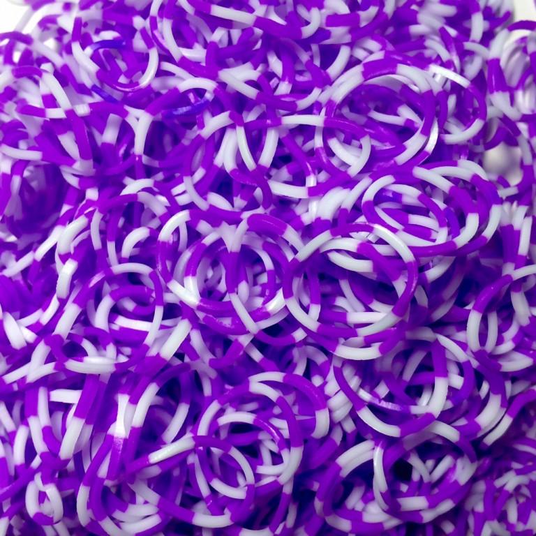 Двухцветные резинки для плетения браслетов фиолетово-белые